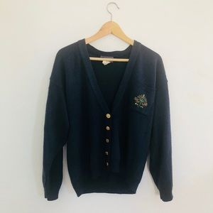 Vintage Navy sweater with gold buttons
